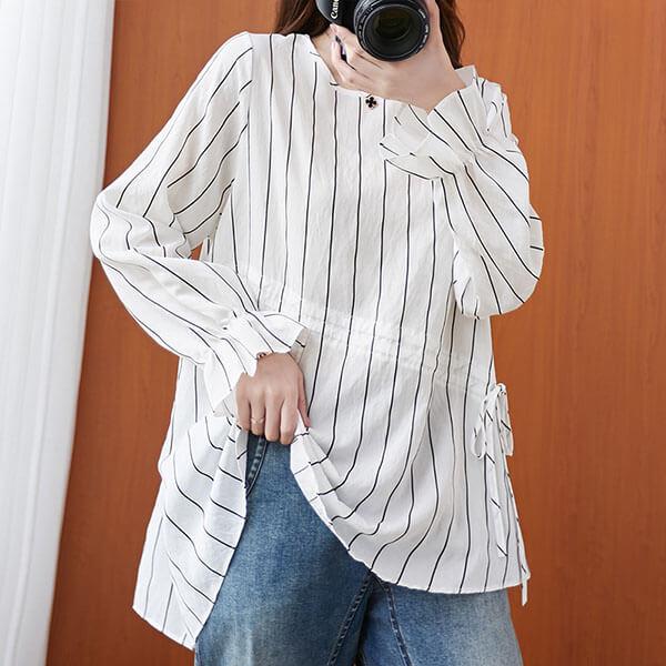 直條紋荷葉袖顯瘦上衣-中大尺碼 獨具衣格 J3100