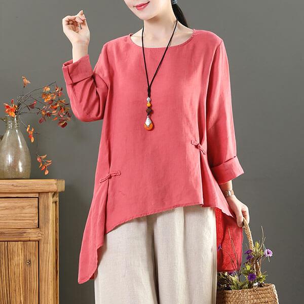 中國結顯瘦前短後長的上衣-中大尺碼 獨具衣格 J3131