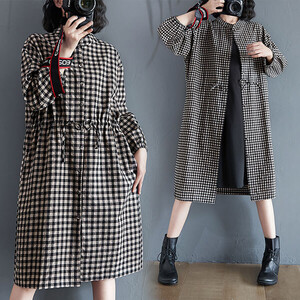 小格紋抽繩設計襯衫洋裝外套-大尺碼 獨具衣格 J3155