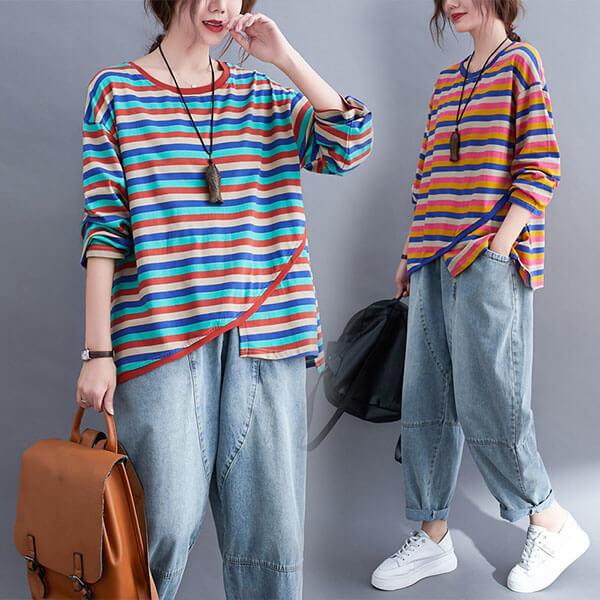 彩色配條不規則上衣-中大尺碼 獨具衣格 J3162