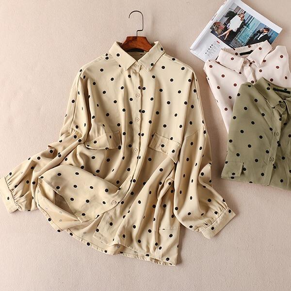 日系點點顯瘦襯衫上衣-大尺碼 獨具衣格 J3193
