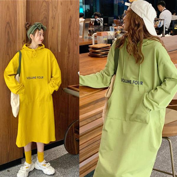 街頭連帽英文印花洋裝-大尺碼 獨具衣格 J3202