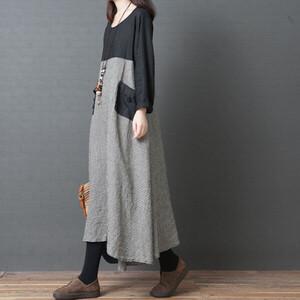 日系格紋拼接顯瘦洋裝-中大尺碼 獨具衣格 J3212
