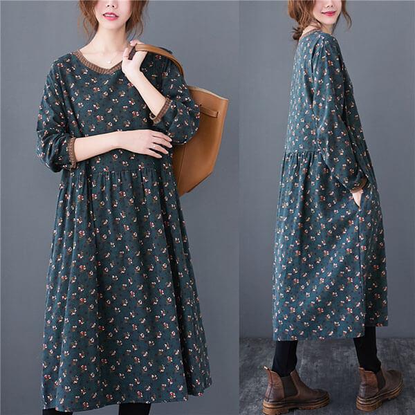針織領拼接小碎花顯瘦洋裝-中大尺碼 獨具衣格 J3213