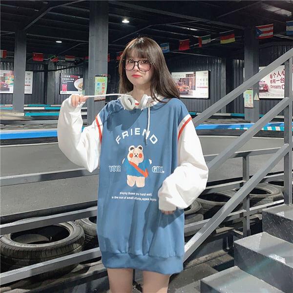 超可愛小熊印花假兩件T桖上衣-大尺碼 獨具衣格 J3214