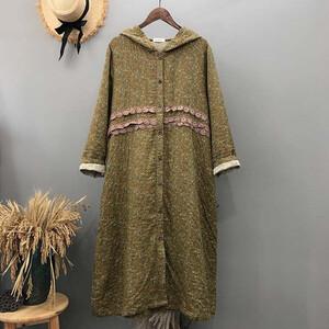 日系鄉村風加厚連帽拼接蕾絲洋裝外套-中大尺碼 獨具衣格 J3219
