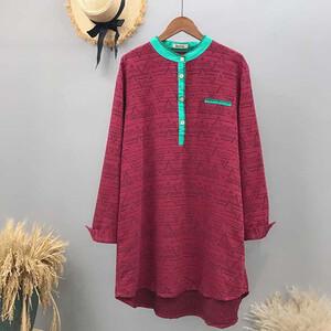 棉麻民俗風布料撞色前短後長洋裝-大尺碼 獨具衣格 J3223