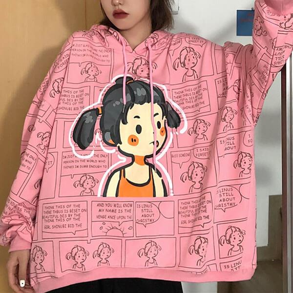 漫畫女孩印花連帽大學T上衣-大尺碼 獨具衣格 J3232