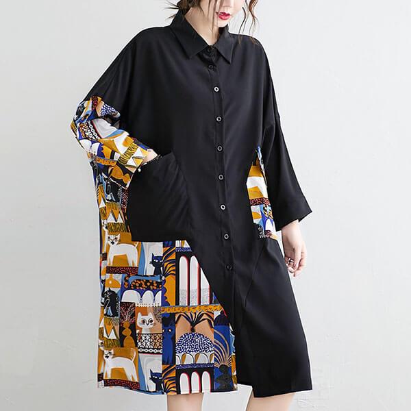 拼接可愛貓咪布襯衫洋裝-大尺碼 獨具衣格 J3241