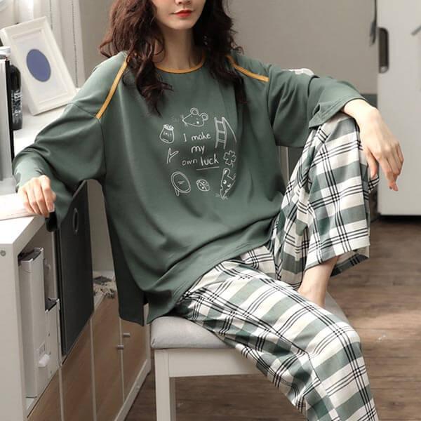 墨綠格紋褲家居服套裝(上衣+長褲)-中大尺碼 獨具衣格 J3262