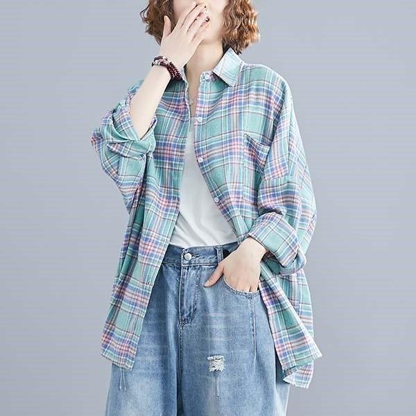 棉質馬卡龍色系格紋襯衫上衣-大尺碼 獨具衣格 J3281