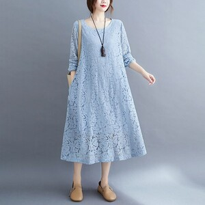 氣質款整件蕾絲顯瘦洋裝-大尺碼 獨具衣格 J3357