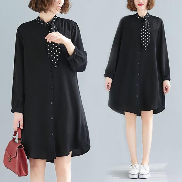 氣質點點領巾顯瘦洋裝-中大尺碼 獨具衣格 J3364