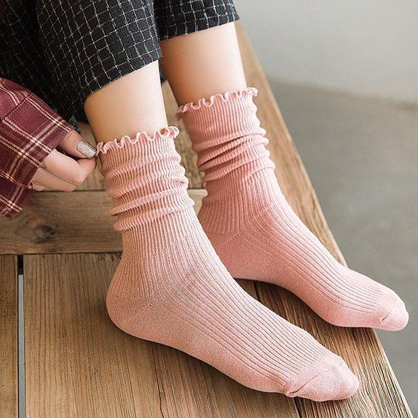 顯瘦花苞邊暖心長襪(五雙入) 獨具衣格 H612
