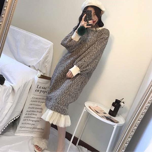 超美毛呢下襬拼接紗裙洋裝-中大尺碼 獨具衣格 J3405