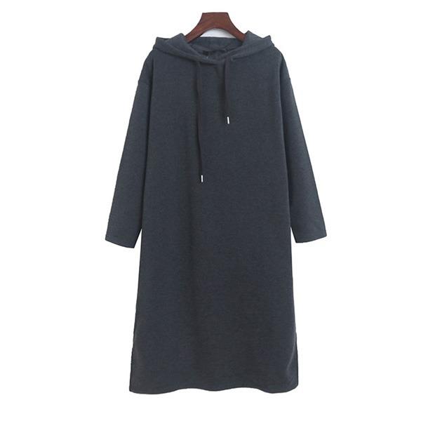 內磨毛素色連帽洋裝-中大尺碼 獨具衣格 J3427