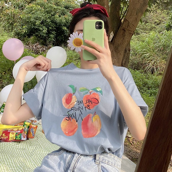 水蜜桃印花T桖長版上衣-中大尺碼 獨具衣格 J3512