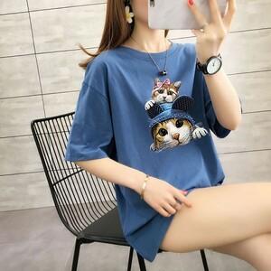 疊疊貓印花T桖上衣-大尺碼 獨具衣格 J3527
