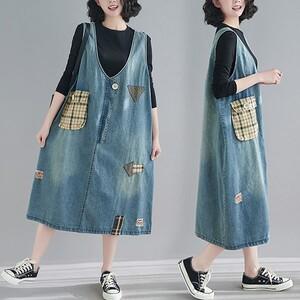 丹寧牛仔格紋口袋背心洋裝-大尺碼 獨具衣格 J3539