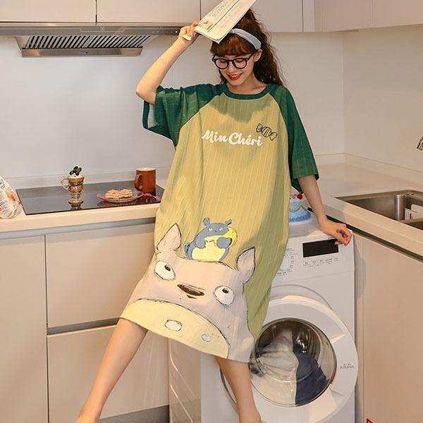 俏皮卡通印花家居服洋裝-中大尺碼 獨具衣格 J3558