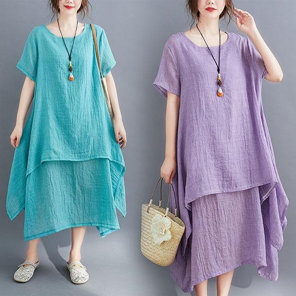 棉麻素色雙層顯瘦洋裝-大尺碼 獨具衣格 J3560