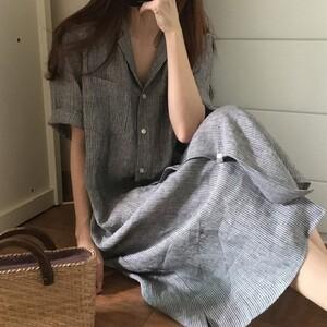 亞麻韓系顯瘦襯衫洋裝 獨具衣格 J3562