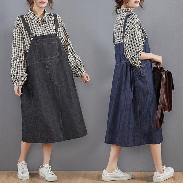 格紋牛仔假兩件洋裝-大尺碼 獨具衣格 J3563