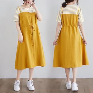 配條假兩件顯瘦洋裝-中大尺碼 獨具衣格 J3568