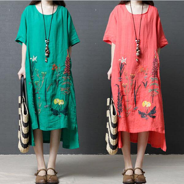 棉綢下襬花刺繡洋裝-中大尺碼 獨具衣格 J3569