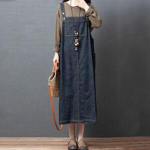 顯瘦丹寧牛仔吊帶洋裝 獨具衣格 J3572