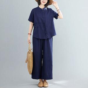 棉麻顯瘦綁袋造型套裝-大尺碼 獨具衣格 J3573