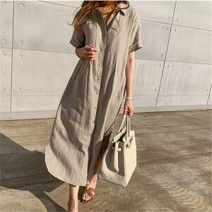 棉麻韓系簡約襯衫洋裝-中大尺碼 獨具衣格 J3600