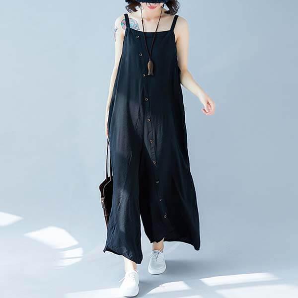 顯瘦釦子裝飾吊帶褲-中大尺碼 獨具衣格 J3608