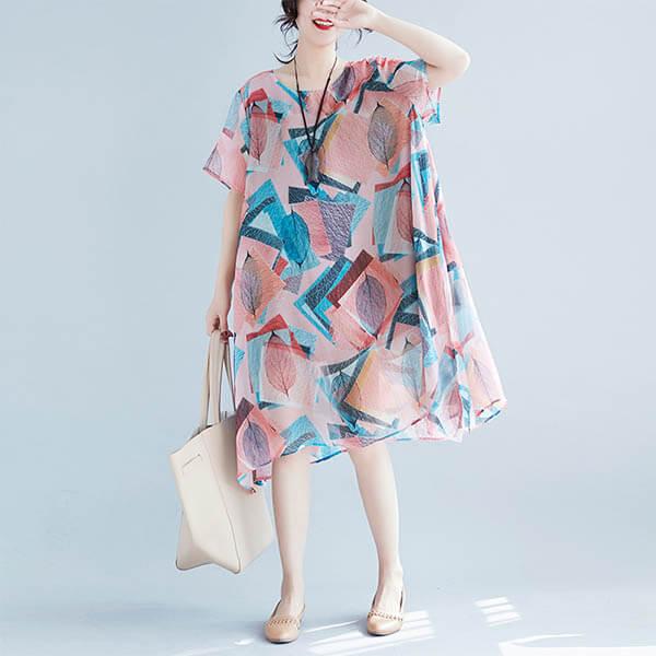 雪紡幾何印花飄逸洋裝-大尺碼 獨具衣格 J3617