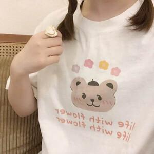甜美熊熊印花T桖上衣-大尺碼 獨具衣格 J3626