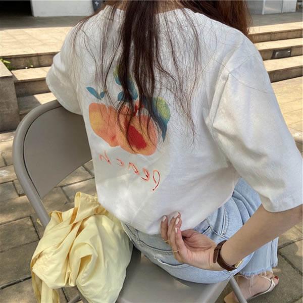 甜美桃子印花T桖上衣-大尺碼 獨具衣格 J3627