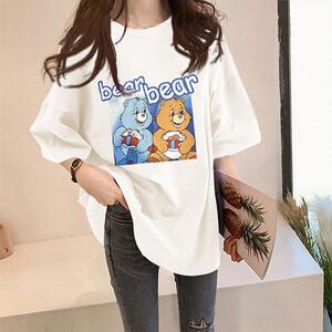 牛奶絲雙熊印花T桖上衣-大尺碼 獨具衣格 J3635