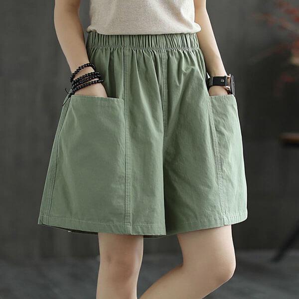 棉質雙口袋顯瘦短褲 獨具衣格 J3640