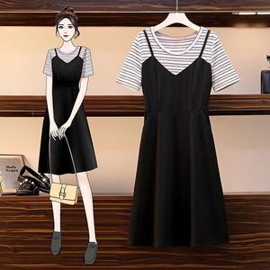 假兩件配條顯瘦洋裝-大尺碼 獨具衣格 J3650