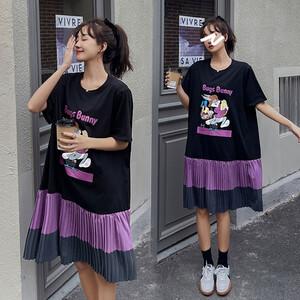 韓妞拼接百摺卡通印花洋裝-大尺碼 獨具衣格 J3651