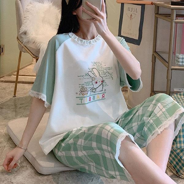 可愛兔蕾絲滾邊家居服套裝(上衣+褲子)-中大尺碼 獨具衣格 J3652