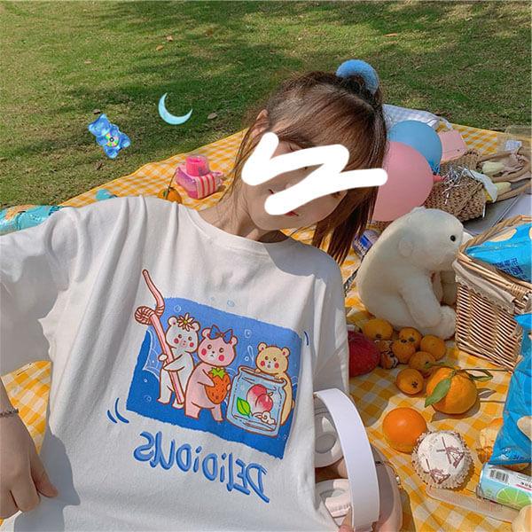 牛奶絲果汁熊印花T桖上衣-大尺碼 獨具衣格 J3658