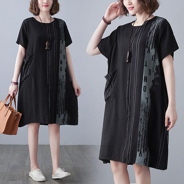 棉綢英文字印花洋裝-大尺碼 獨具衣格 J3673