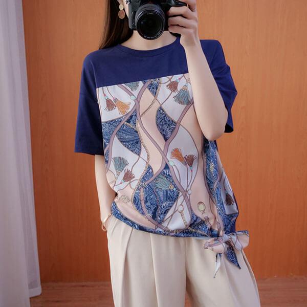 鍊條印花拼接下襬蝴蝶結上衣-中大尺碼 獨具衣格 J3702