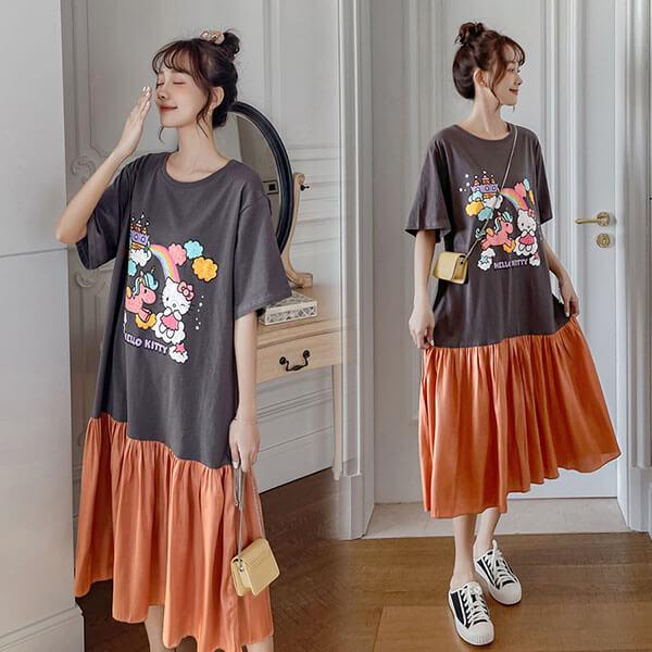卡通貓印花下襬撞色拼接洋裝-大尺碼 獨具衣格 J3705