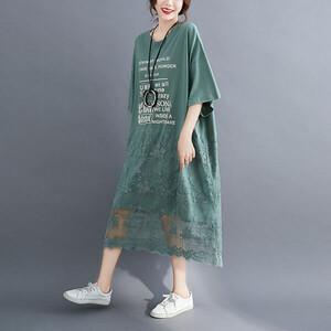 韓系下襬拼接蕾絲印花洋裝-大尺碼 獨具衣格 J3715