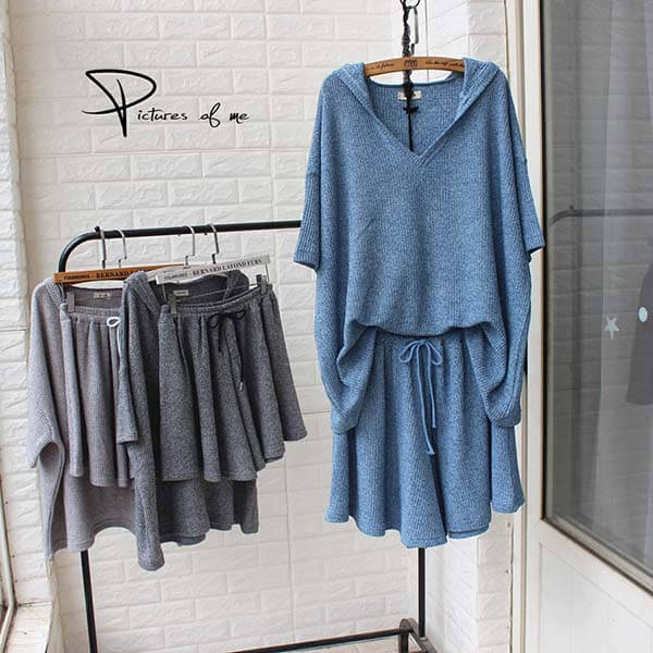 針織連帽套裝(上衣+短褲)-大尺碼 獨具衣格 J3730