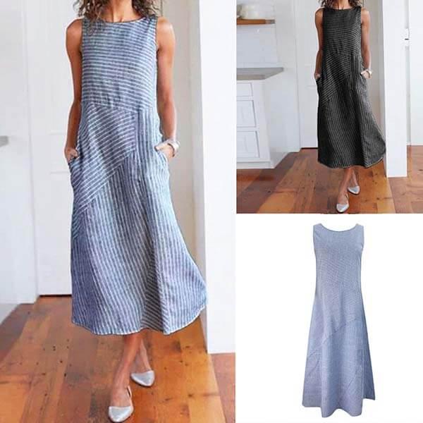 配條拼接顯瘦背心洋裝-中大尺碼 獨具衣格 J3735