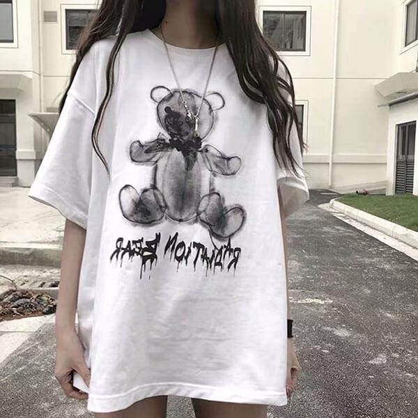 牛奶絲小熊印花T桖上衣-大尺碼 獨具衣格 J3750