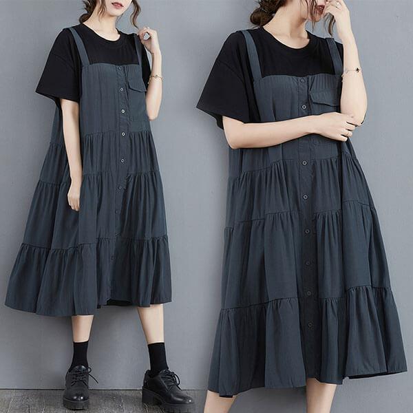假兩件顯瘦多層次洋裝-中大尺碼 獨具衣格 J3758